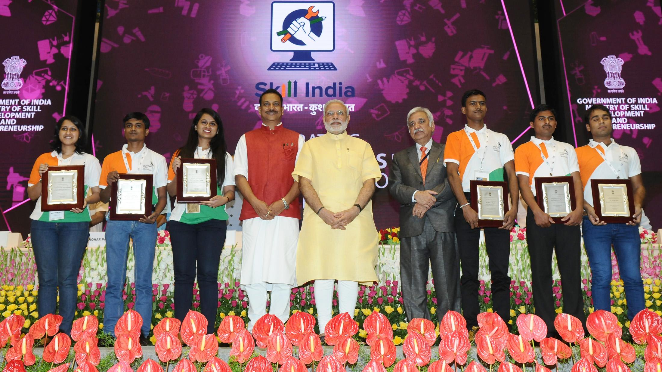 PM Modi & Minister Rudy with World Skill champs